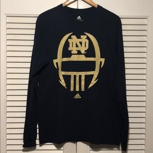 Adidas Notre Dame Football Long Sleeve Shirt.